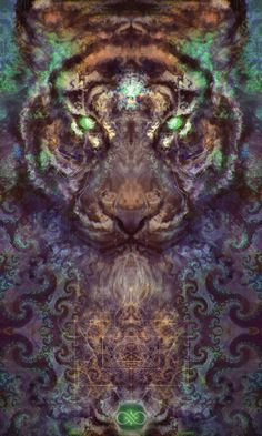 Fractal Intuition Tiger Tapestry by SolsticeSonDesign on Etsy