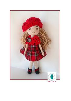 Handmade crochet doll wearing a redplaid dress, cotton beret and shawl. About 42cm tall #crochetdoll #handmade
