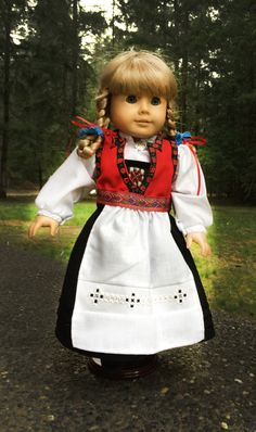Hardanger bunad for dolls, beading, Hardanger apron embrodery Gotz Dolls, Historical Dress, Disney Dolls, Sewing Dolls, 18 Inch Doll, Toddler Dress, Dress Ideas, Norway, American Girl