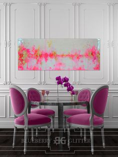 This one of a kind large abstract artwork is textured with a mixture of acrylic paints, recycled glass, and resin coating to create a truly unique and serene abstract original. The painting has a glass coat layer of epoxy resin to add a thick high gloss sheen to piece. Looks beautiful in natural light!!    The colors include shades of pink, lilac, gold, white, iridescent glitter, and touches of real gold leaf.    This is a signed original gallery wrapped heavy duty canvas that is 1.5 deep…