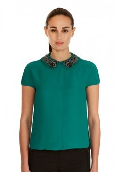 Magaschoni -- Embellished Peter Pan Collared Top -- $458