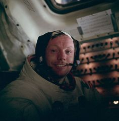 Apollo 11 astronaut Neil A. Armstrong poses for a photo inside the Lunar Module Eagle after the first trip on Moon.