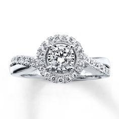 Diamond Engagement Ring 5/8 ct tw Round-cut 14K White Gold