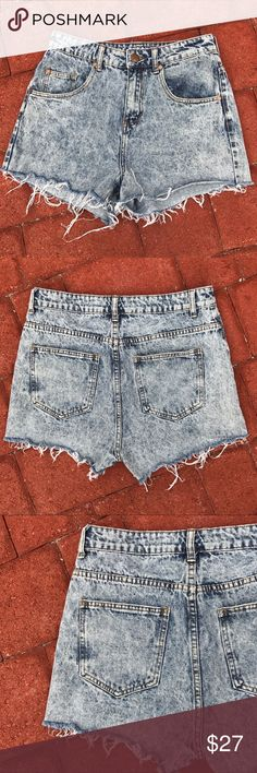 """Cotton On The Flashback High Rise Acid Wash Shorts Flashback to the 80s with these stellar acid wash denim high rise shorts by Cotton On. Approx 12"""" length, 11"""" rise, & 29.5"""" waist.  US size 6 runs true to size.  Distressed acid wash denim.  The perfect shorts for summer 2017! Cotton On Shorts Jean Shorts"""