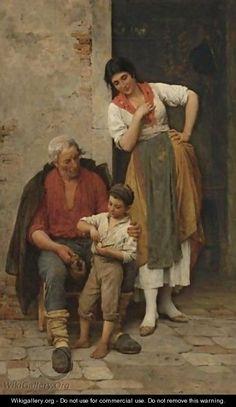 Grandfather's Pipe - Eugene de Blaas