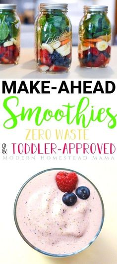 Make-Ahead Smoothies for Toddlers (Zero Waste) | Modern Homestead Mama #toddlerfood #toddler #makeahead #smoothies #smoothierecipe