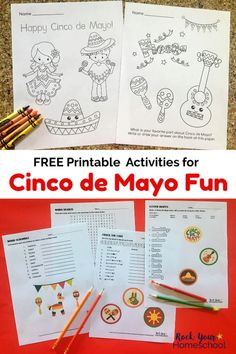 Add these free printable coloring pages & word puzzles to your celebration for a fun Cinco de Mayo for Kids! #cincodemayoforkids #cincodemayofun #freecincodemayoprintables