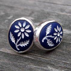 Vintage Intaglio Flower Earrings  royal blue and by LisasLovlies, $26.88