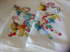 VTG Tablecloth WILENDUR ROOSTER GRAPES BRIGHT COLOR Red Green Yellow on White  | eBay