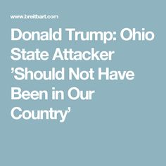 Donald Trump: Ohio State Attacker 'Should Not Have Been in Our Country'