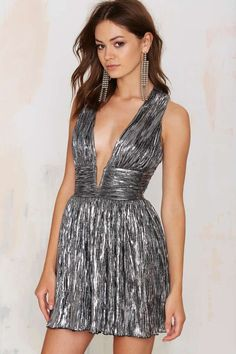 Nasty Gal Gilt Trip Metallic Dress - Silver - Fit-n-Flare | Going Out | Dresses