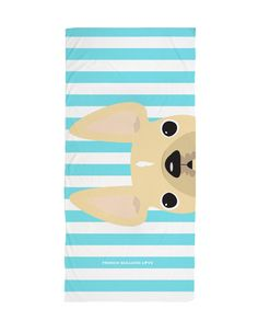 Cream / Striped French Bulldog Beach Towel - French Bulldog Love - 1
