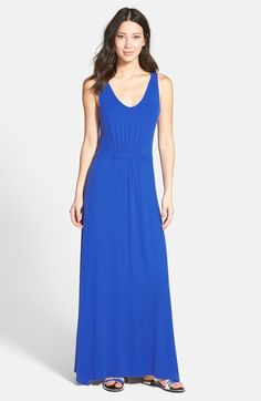 LOVEAPPELLA U-Neck Sleeveless Maxi Dress. Front and back shirring gathered to a tab detail nips in the waist of an effortless maxi dress in an A-line cut of soft jersey.