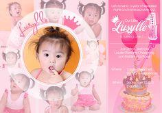 Lusille Birthday Tarpaulin on Behance Christening Invitations Girl, Baby Christening, Birthday Card Design, Birthday Cards, 1st Birthday Girls, Birthday Ideas, Hawaiian Birthday, Husband Birthday, Frozen Birthday
