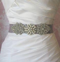 Gray Rhinestone and Pearl Sash, Granite Grey Bridal Sash, Steel Gray Wedding Belt - BELLA