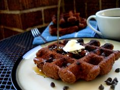 Paleo Chocolate Waffles (didn't have chocolate chips, and it was delicious. she doesn't call it paleomg for nothin'! Paleo Chocolate Waffles, Paleo Waffles, Vegetarian Chocolate, Chocolate Recipes, Chocolate Chips, Paleo Recipes, Real Food Recipes, Yummy Food, Tasty