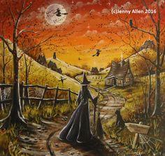 OOAK Original Halloween Painting, Acrylic on Canvas, Witch, Glastonbury Tor