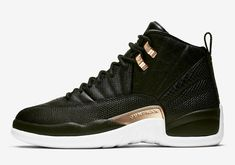 Retro Sneakers, Retro Shoes, Best Sneakers, Sneakers Women, Shoes Sneakers, Jordan 11, Air Jordan 12 Retro, Black And Gold Jordans, Black Shoes