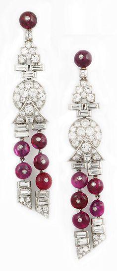 A pair of Art Deco platinum, diamond and ruby earrings, circa Ruby Jewelry, Ruby Earrings, Art Deco Earrings, Gemstone Jewelry, Dangle Earrings, Fine Jewelry, Ruby Beads, Jewellery Earrings, Diamond Jewellery