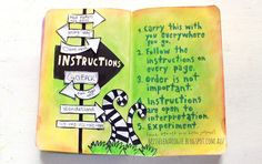 wreck this journal instructions page , alice in wonderland inspired