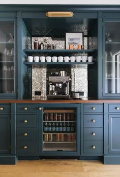built in bar area in family room Jean Stoffer; built in bar area in family room - Style Of Coffee Bar In Kitchen Coffee Station Kitchen, Coffee Bars In Kitchen, Home Coffee Stations, Kitchen Design, Kitchen Decor, Kitchen Ideas, Machine Expresso, Decoracion Vintage Chic, Built In Bar