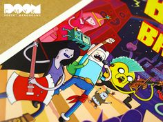 """Limited Edition Adventure Time Fan Art Poster """"Battle of the Bands"""" Available on Sunday Feb. 26th 11am EST. at http://www.etsy.com/shop/DoomCMYK    Limited Print Run of 300. No Reprints. No Variations."""