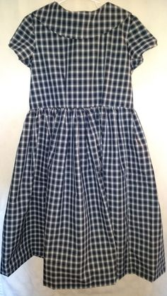 """Fiddlin' Tartan w/ Rolled Collar: Girls dress  S 8 Blue, White & Green Very full skirt, rolled collar, cap sleeves Cotton Thread Plaid  bought in US Cool Water, drip dry"""""""