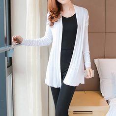 Ladylike Collarless Openwork Stripe Long Sleeves Cardigan For Women (WHITE,M)   Sammydress.com