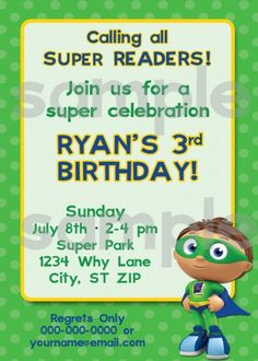 Super Why Birthday Invitations