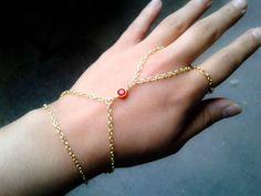 Bohemian Slave Bracelet Red Gem Hand Chain Bohemian Slave