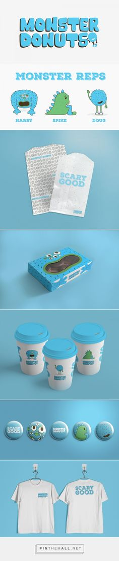 Packaging, illustration and branding for Monster Donuts Branding on Behance by Christine Wiggington Warrensburg, MO curated by Packaging Diva PD.  Yumm, National Donut Day : )