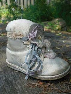 Pincushion from child's shoe