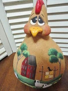 Handpainted Primitive Folk Art Chicken Hen Doll Gourd