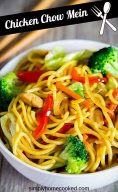 This chicken chow mein is a quick and easy way to enjoy Asian takeout at home. Delicious yakisoba noodles loaded with stir-fried vegetables and a simple Asian sauce. Yummy Pasta Recipes, Supper Recipes, Best Chicken Recipes, Delicious Dinner Recipes, Healthy Crockpot Recipes, Veggie Recipes, Slow Cooker Recipes, Asian Recipes, Beef Recipes