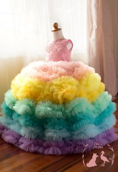 Image of Rainbow Gown, extra full with separate petticoat and extra ruffles Baby Girl Birthday Dress, Baby Girl Party Dresses, Kids Outfits Girls, Little Girl Dresses, Girls Dresses, Kids Dress Wear, Kids Gown, Girls Frock Design, Kids Frocks Design