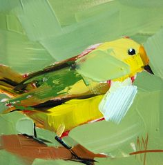 Yellow Warbler no. 63 original bird oil painting by Angela Moulton