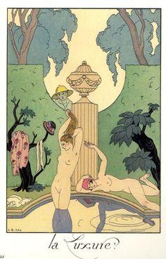 George Barbier (1882-1932) - French Art Deco Fashion Illustrator - 'La Luxure' 1924
