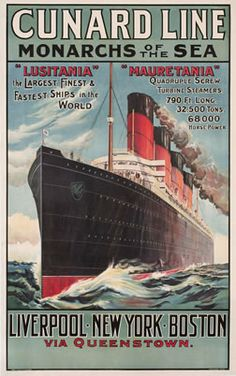 vintage advertising: CUNARD TRAVEL POSTERS Table number one