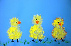 Teach your child about visual texture by using a sponge to paint these cute spring chicks!