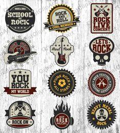 12 Rock and Roll labels, set of labels, retro labels, heavy metal labels, scrapbooking, rock clipart, guitar clipart,t-shirts labels,t-shirt