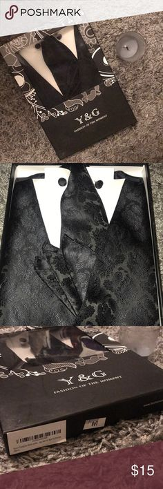 Black Designer Vest Set Black men's set with vest, tie, cufflinks and handkerchief. New In box: perfect for prom, wedding, or special nights out. Suits & Blazers Vests