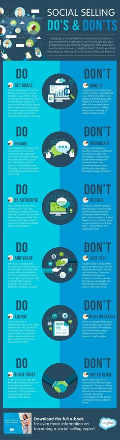 Social Selling: Do's and Don'ts - #socialmedia #SMM #Infographic | Propel Marketing
