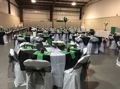 Green and Black Table decorations