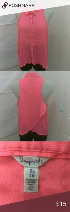 Aeropostale Sheer Sleeveless blouse Areopostale Collared Sheer Sleeveless Button Down Ultra Pink Top.. Aeropostale Tops Blouses