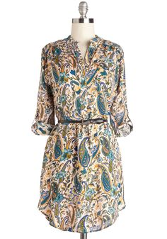 Merry Milestone Tunic. For your two-year work anniversary, youre treating your closest coworkers to lunch in this belted, paisley tunic!  #modcloth In a Large
