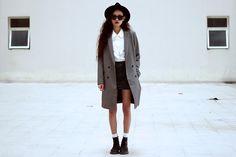 Wconcept Coat, Thrift Store Shirt, Thrift Store Mini Skirt, Dr. Martens Boots