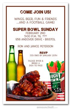 Chicken Wings Super Bowl Invitations Chicken Wings Super Bowl Invitations,SUPER BOWL Related posts:DIY Superbowl party decor — easy and affordable ideas for your party! - Super Bowl Party FoodMini Macaroni and Cheese. Cookout Food, Exotic Food, Light Recipes, Clean Eating Snacks, Chicken Wings, Invitation Wording, Invitation Templates, Party Invitations