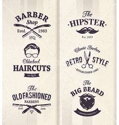 Barber shop emblems 1 vector 2640442 - by morys on VectorStock®