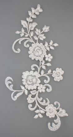 Hot-Fix Lace Applique 28 x 14 (Pair) Paper Recycling, Tulle Lace, Lace Applique, Embroidery Patterns, Digital Prints, Print Design, Arts And Crafts, Textiles, Brooch