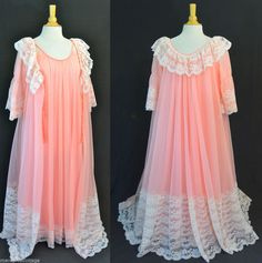 Vintage 60s INTIME California Peignoir Robe Gown Nightgown SET Romatic Lace S M #IntimeofCalifornia